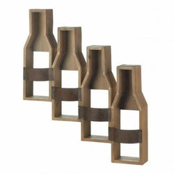 Rustic 4 Bottle Iron and Wood Mounted Wall Wine Rack - Wine Rack Concepts