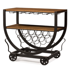 Triesta Antiqued Vintage Industrial Metal And Wood Wheeled Wine Rack Cart - Wine Rack Concepts