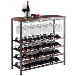 Wood Top 40 Bottle Wine & Glass Rack - Wine Rack Concepts