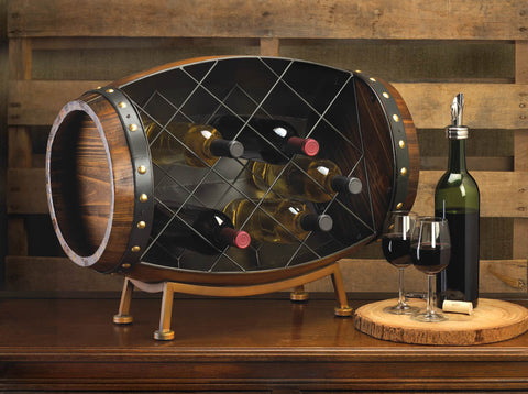 wood and iron counter top wine rack