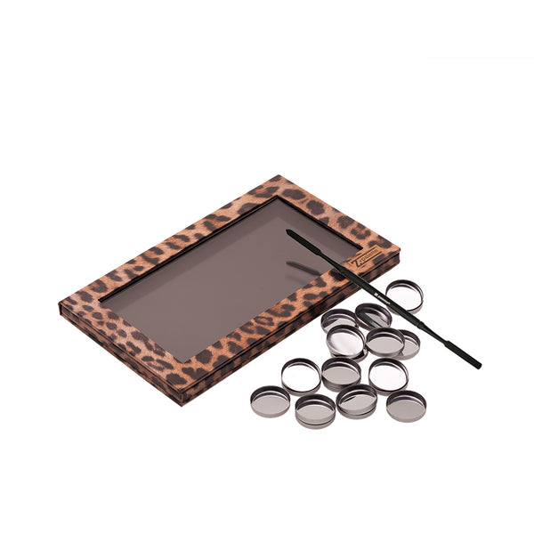 Depotting Makeup Kit with Leopard Large Z Palette and Empty Makeup Pans