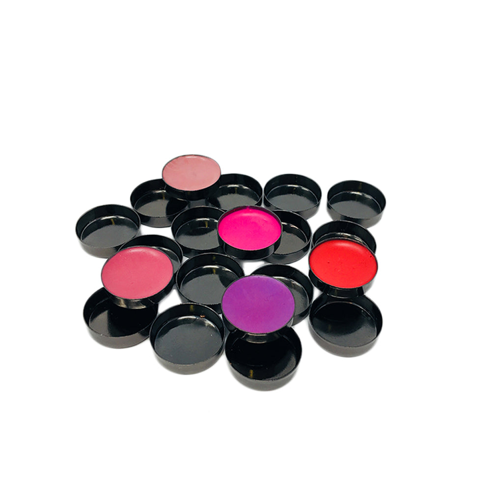 MINI ROUND EMPTY MAKEUP PANS - GLOSSY BLACK