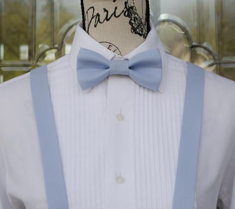 Dust Blue Bow Tie and Suspenders