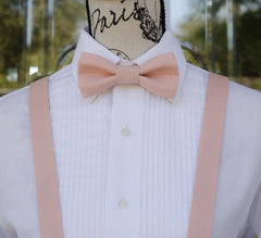 Blush Pink Bow Tie and Suspenders
