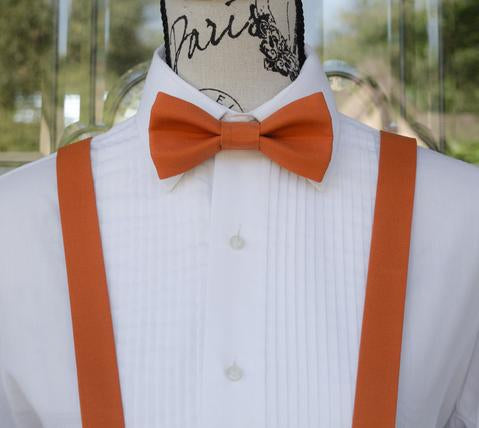 Dark Orange Bow Tie and Suspenders