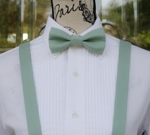 Dusty Jade Bow Tie and Suspenders