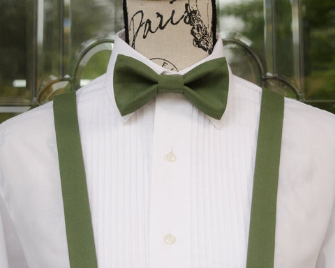 Autumn Green Bow Tie and Suspenders