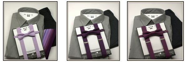 Purple Bow Tie and Suspenders - Wedding Bow Tie, Wedding Suspenders, Grad Bow Tie, Mens Bow Ties and Suspenders