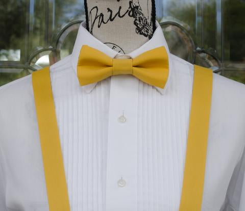 Yellow Bow Tie and Suspenders