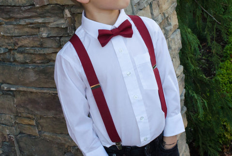 Mens Burgundy Fashion - Burgundy Bow Tie and Suspenders