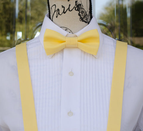 Yellow Bow Tie and Suspenders (Light Yellow Bowtie and Suspenders) for Weddings, Prom, Graduation and Formal Events. Bow Tie and Suspenders are Handmade and Made in Canada. Made by Mr. Bow Tie.