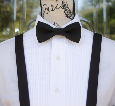 (69-99) Tux Black Bow Tie and/or Suspenders - Mr. Bow Tie