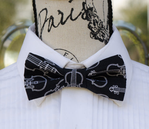 Bowtie with violins. Bow Ties for weddings, prom, graduation, music and formal events. Bow ties are handmade, pretied and made in Canada. Made by Mr. Bow Tie.