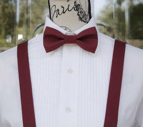 Burgundy Bow Tie and Suspenders (Dark Burgundy Suspenders and Bow Tie) for Weddings, Prom, Graduation and Formal Events. Bow Tie and Suspenders are Handmade and Made in Canada. Made by Mr. Bow Tie.