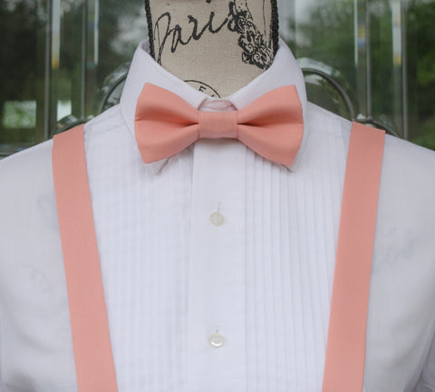Pink Bow Tie and Suspenders (Medium Pink Suspenders and Bow Tie) for Weddings, Prom, Graduation and Formal Events. Bow Tie and Suspenders are Handmade and Made in Canada. Made by Mr. Bow Tie.