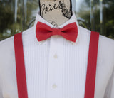 (19-230) Cherry Red Bow Tie and/or Suspenders - Mr. Bow Tie
