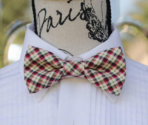Plaid (Red/Green/Black/Cream) Winter Bow Tie - Mr. Bow Tie