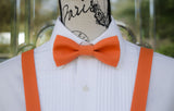 Orange Bow Tie and Suspenders (Clementine Orange Bowtie and Suspenders) for Weddings, Prom, Graduation and Formal Events. Bow Tie and Suspenders are Handmade and Made in Canada. Made by Mr. Bow Tie.