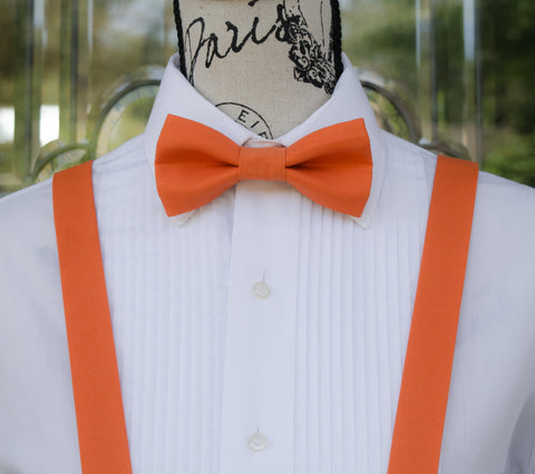 4e1db748d416 (08-209) Clementine Orange Bow Tie and/or Suspenders - Mr.
