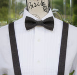 (69-12C) Black Retro Bow Tie and/or Suspenders - Mr. Bow Tie