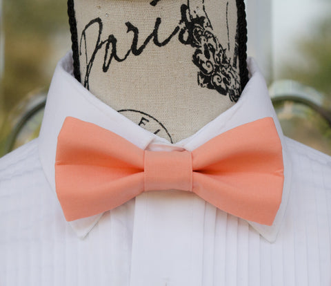 Coral Pink mens bow tie for weddings, prom, graduation and formal events. Bow ties are handmade, pretied and made in Canada