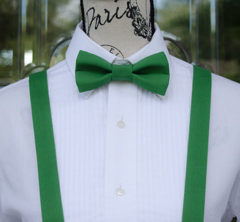 (61-77) Green Bow Tie and/or Suspenders - Mr. Bow Tie