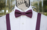 Purple Bow Tie and Suspenders (Eggplant Purple Suspenders and Bow Tie) for Weddings, Prom, Graduation and Formal Events. Bow Tie and Suspenders are Handmade and Made in Canada. Made by Mr. Bow Tie.