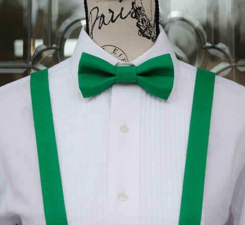 (61-268) Emerald Green Bow Tie and/or Suspenders - Mr. Bow Tie