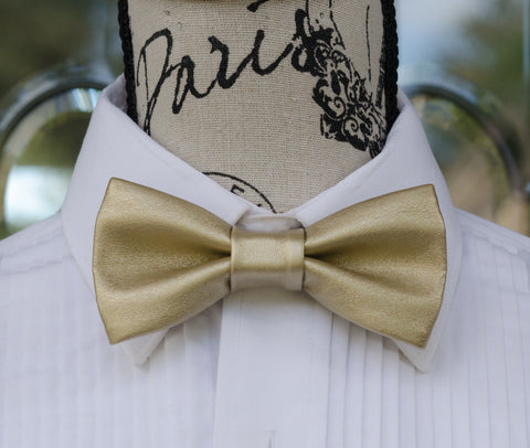 (01-02)-Champagne Gold Faux Leather Bow Tie - Mr. Bow Tie
