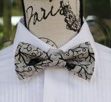 Light Gray with Black Owls and Branches Bow Tie - Mr. Bow Tie