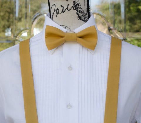 Yellow Bow Tie and Suspenders (Harvest Gold Bowtie and Suspenders) for Weddings, Prom, Graduation and Formal Events. Bow Tie and Suspenders are Handmade and Made in Canada. Made by Mr. Bow Tie.