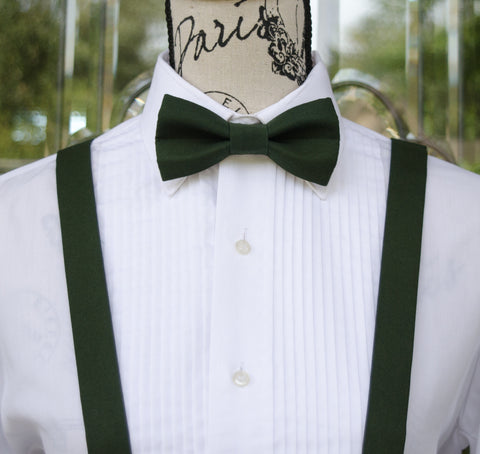 (61-15) Hunter Green Bow Tie and/or Suspenders - Mr. Bow Tie
