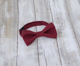 Winter Berry Burgundy mens bow tie for weddings, prom, graduation and formal events. Bow ties are handmade, pretied and made in Canada
