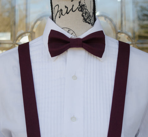 (22-279) Merlot Bow Tie and/or Suspenders - Mr. Bow Tie