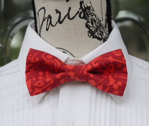 Red Jazz Music Notes Bow Tie - Mr. Bow Tie