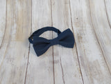 Navy Blue mens bow tie for weddings, prom, graduation and formal events. Bow ties are handmade, pretied and made in Canada. Made by Mr. Bow Tie.