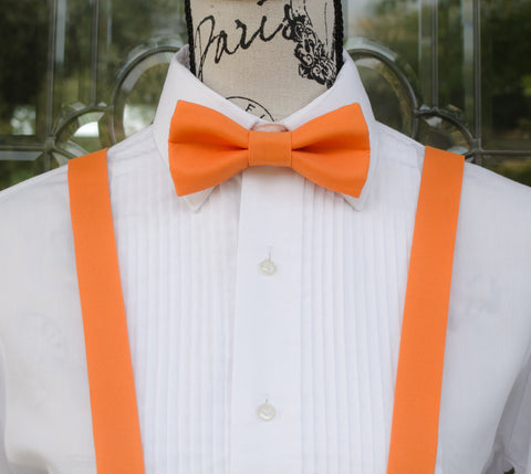Orange Bow Tie and Suspenders (Bright Orange Bowtie and Suspenders) for Weddings, Prom, Graduation and Formal Events. Bow Tie and Suspenders are Handmade and Made in Canada. Made by Mr. Bow Tie.