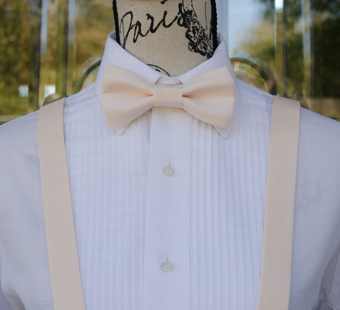 (10-26) Champagne Pink Bow Tie and/or Suspenders - Mr. Bow Tie