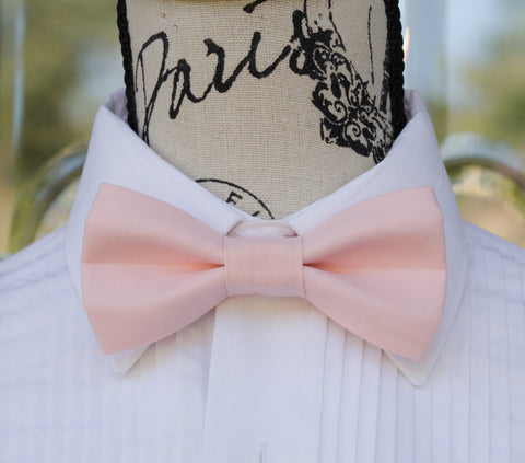 Pastel Pink mens bow tie for weddings, prom, graduation and formal events. Bow ties are handmade, pretied and made in Canada