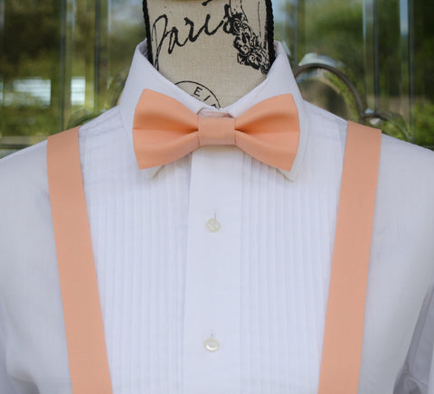 (06-78) Peach Bow Tie and/or Suspenders - Mr. Bow Tie