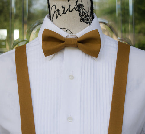 Sienna Brown Bow Tie and Suspenders (Sienna Brown Suspenders and Bow Tie) for Weddings, Prom, Graduation and Formal Events. Bow Tie and Suspenders are Handmade and Made in Canada. Made by Mr. Bow Tie.