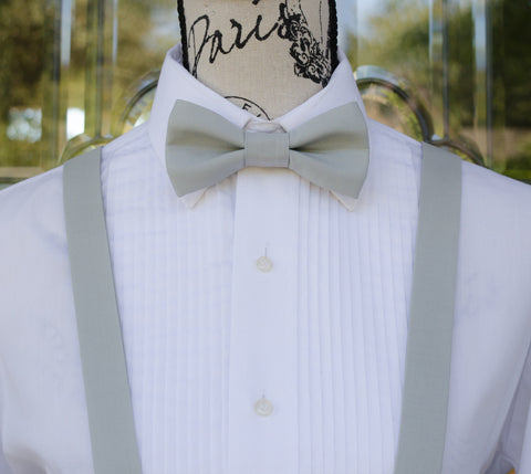 Silver Gray Bow Tie and Suspenders (Silver Gray Suspenders and Bow Tie) for Weddings, Prom, Graduation and Formal Events. Bow Tie and Suspenders are Handmade and Made in Canada. Made by Mr. Bow Tie.