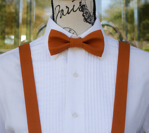 (04-293) Burnt Orange Bow Tie and/or Suspenders - Mr. Bow Tie