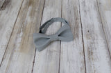 Steel Gray mens bow tie for weddings, prom, graduation and formal events. Bow ties are handmade, pretied and made in Canada. Made by Mr. Bow Tie.