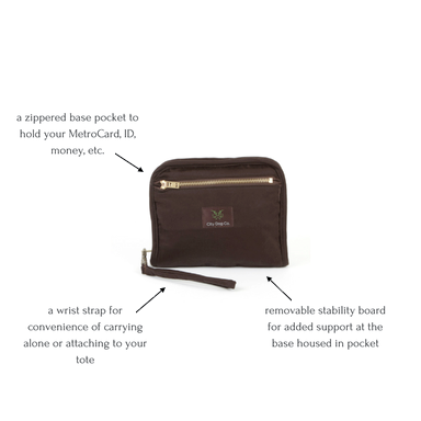 City Gypsy carrier collapsed to wristlet with features called out