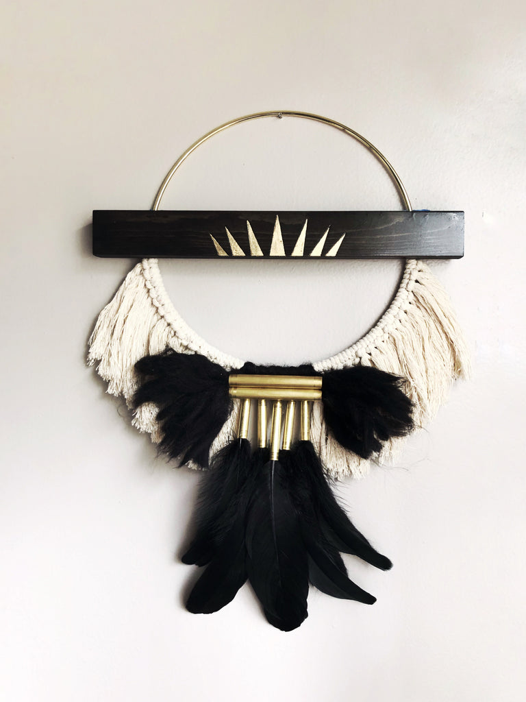 Macrame, bohemian decor, brass and macrame wall hanging. Wood burned and gold leafed macrame and feathered wall hanging