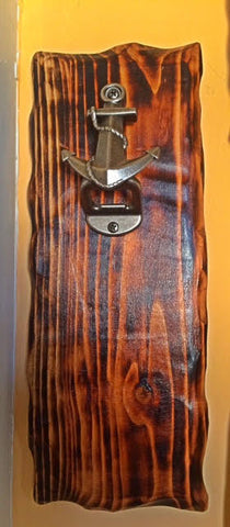 "Wall Mounted Bottle Opener with ship ""Anchor"" hardware"
