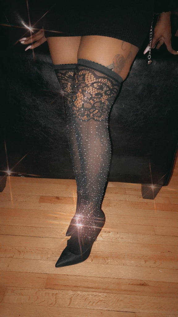 """Shining"" Fishnet Thigh Highs"