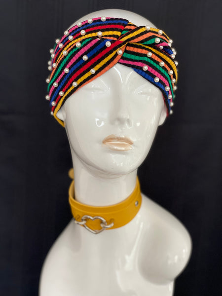 """Stripes & Pearls"" Headband"