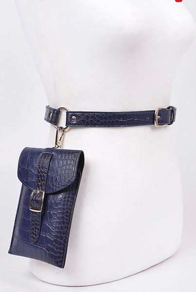 """Croc-Blue"" Belt Bag"